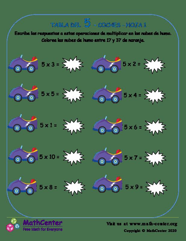 5 Tabla De Multiplicar - Hoja De Coches 1