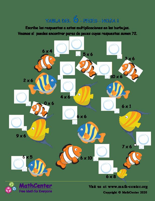 6 Tabla de multiplicar - Peces - Hoja 1