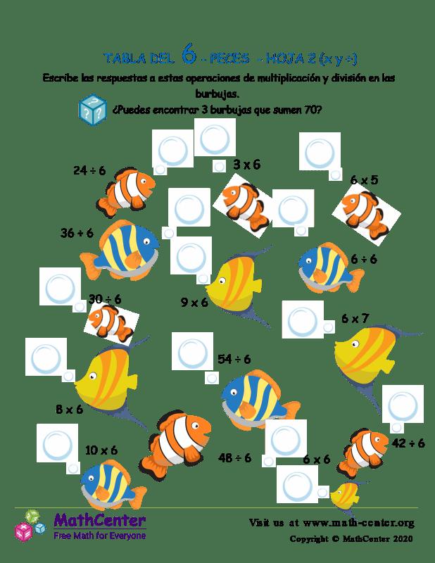 6 Tabla de multiplicar - Peces - Hoja 2 (X y ÷)