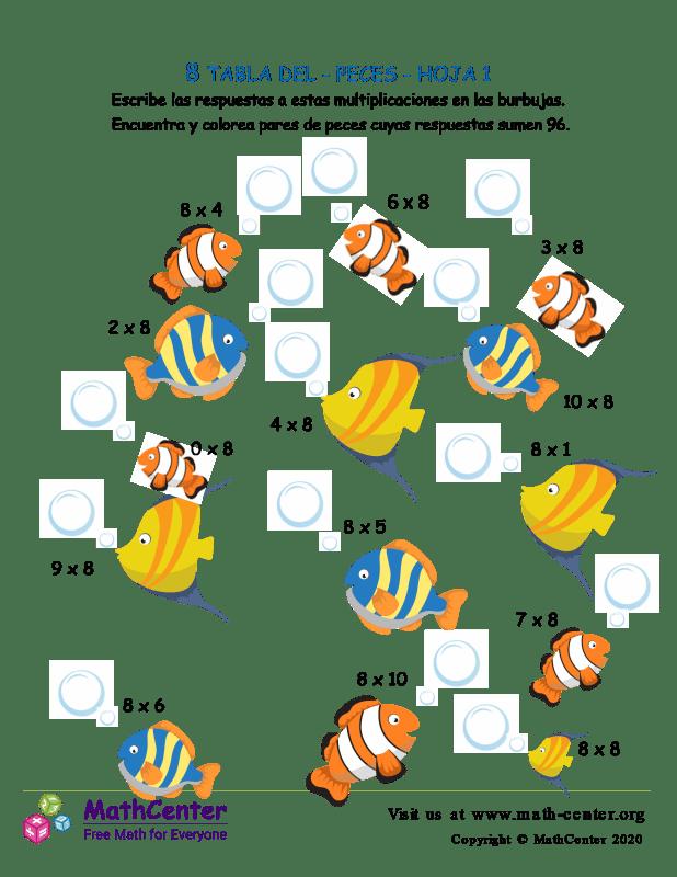 8 Tabla de multiplicar - Peces - Hoja 1