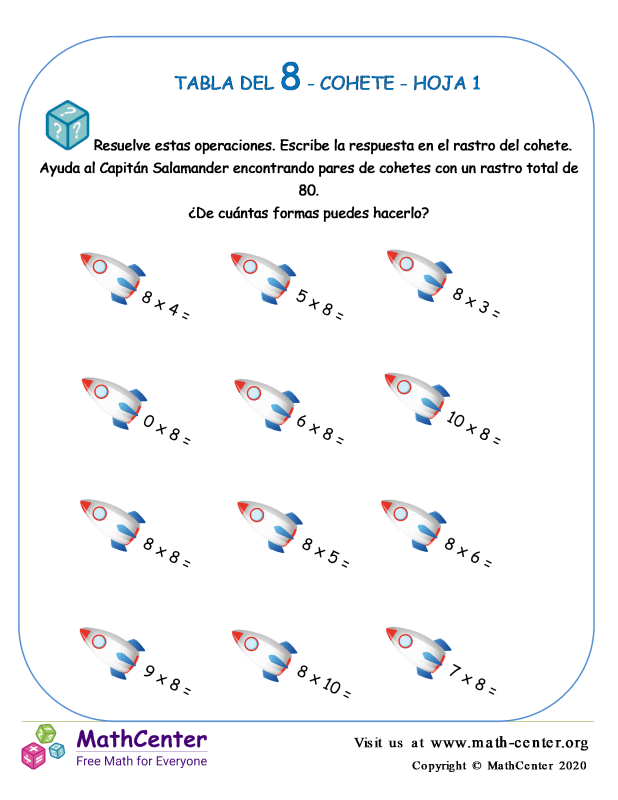 8 Tabla de multiplicar - Cohete - Hoja 1