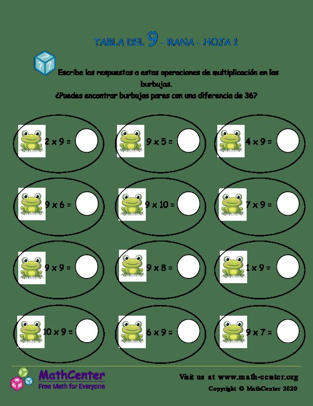 9 Tabla de multiplicar - Rana - Hoja 1