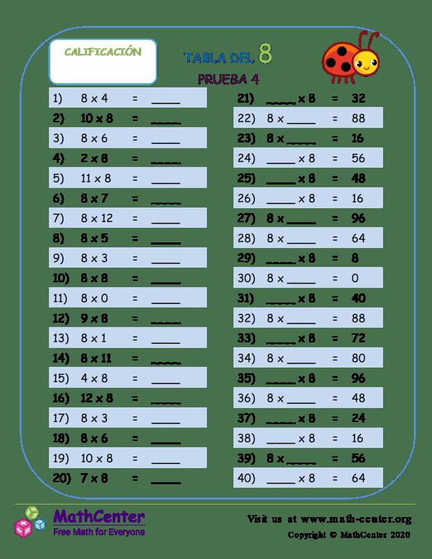 8 Prueba de tablas de multiplicar 4