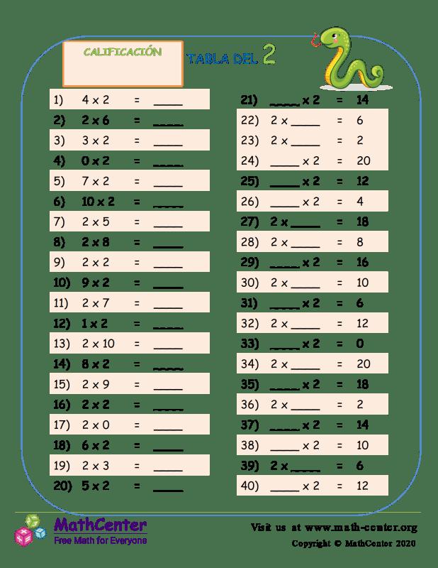 2 Prueba de tablas de multiplicar 1