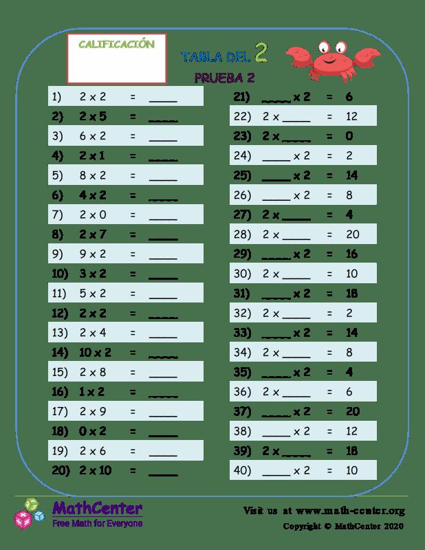 2 Prueba de tablas de multiplicar 2