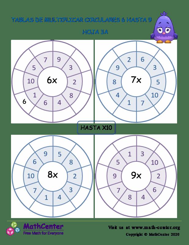 Tablas De Multiplicar Circulares 6 Hasta 9 Hoja 3A
