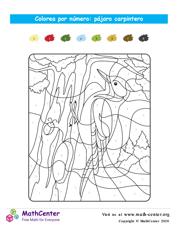 Color por números - pájaro carpintero