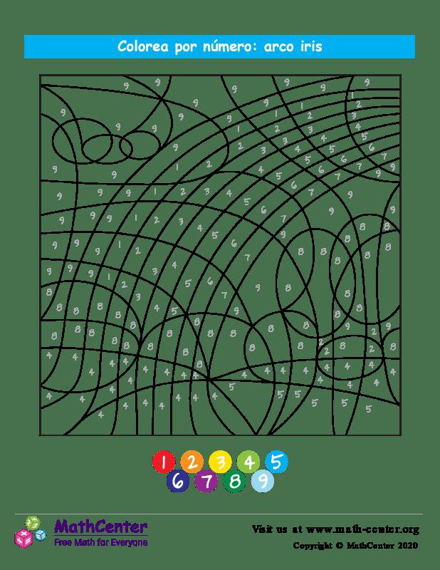 Colorear por números - Arco iris
