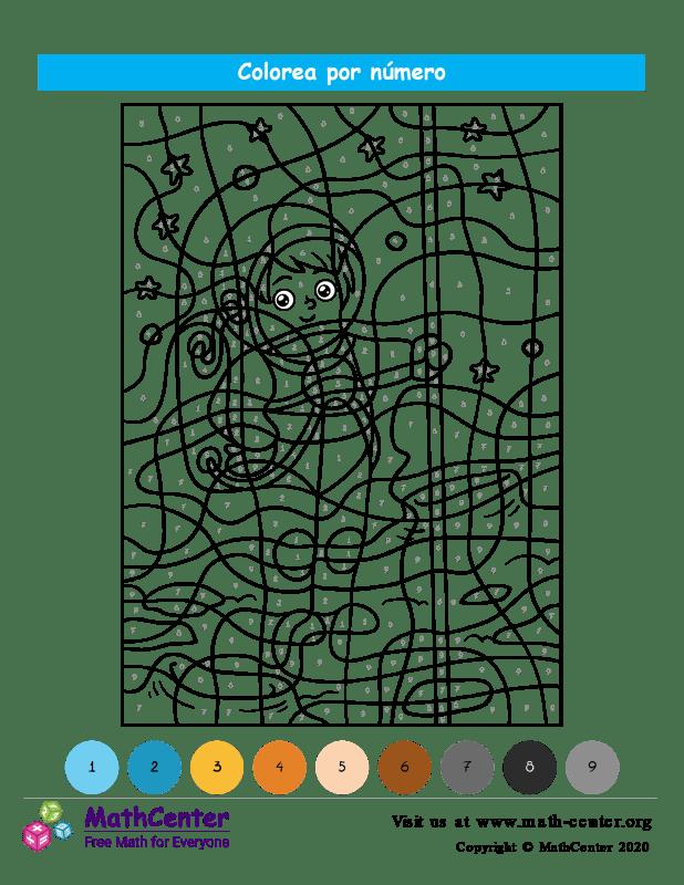 Colorear por números - Espacio