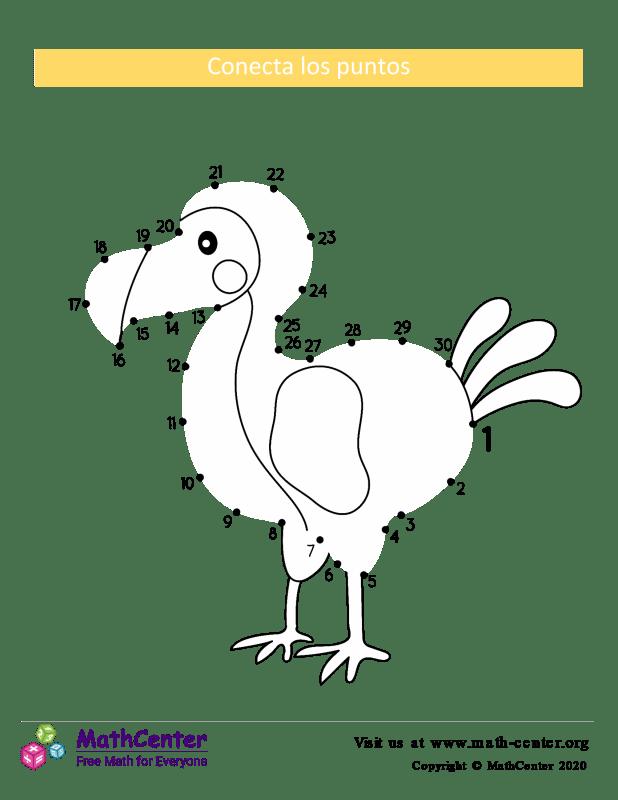 Conecta los puntos Hasta 30 - Dodo (Raphus cucullatus)