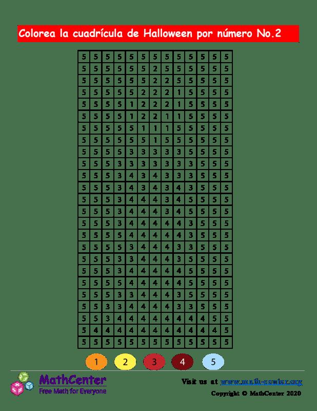 Cuadrícula para Colorear por números - Halloween N° 2