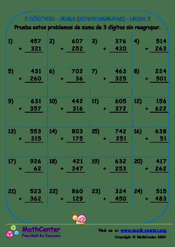 3 Dígito - Suma (Sin Reagrupar) - Hoja 3