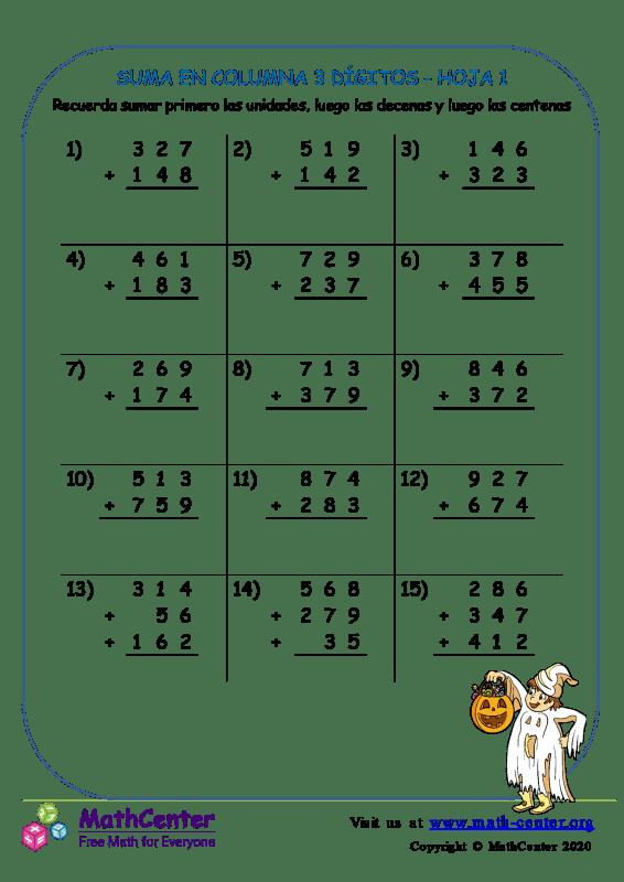 Suma de columna 3 dígitos (pidiendo prestado) - Hoja 1