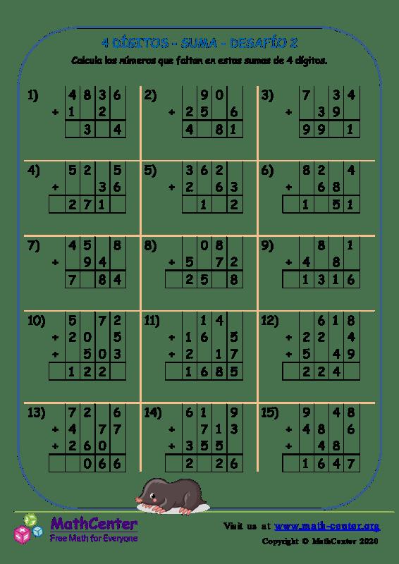 4 Dígito - Suma - Desafío 2