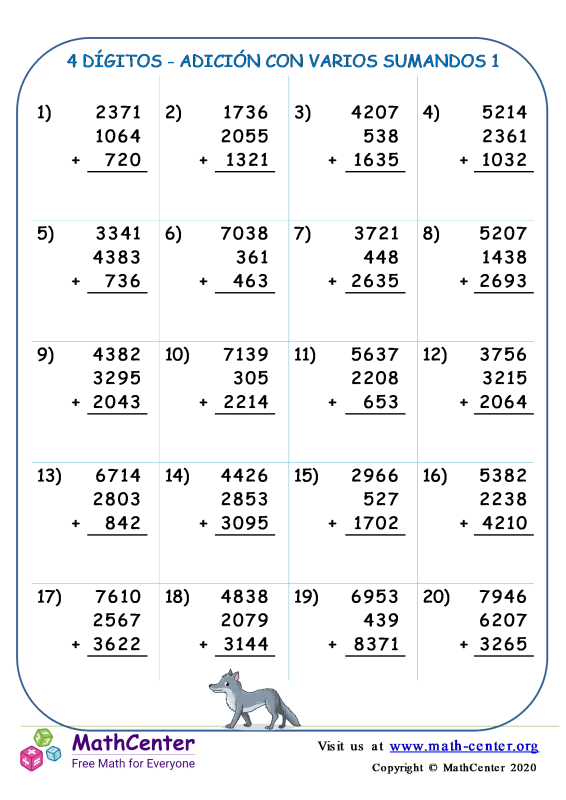 4 Dígito - Adición Con Varios Sumandos 1