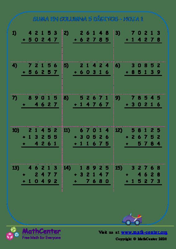 Suma En Columna 5 Dígitos Hoja 1