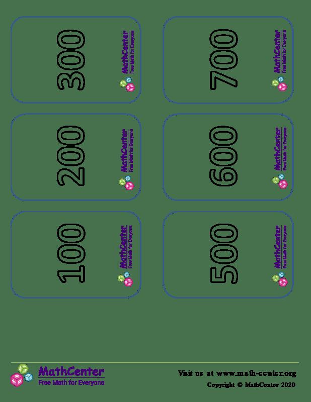 Tarjetas de dígitos múltiplos de 100