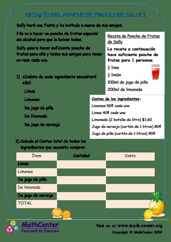 Desafío Del Ponche De Frutas De Sally 1