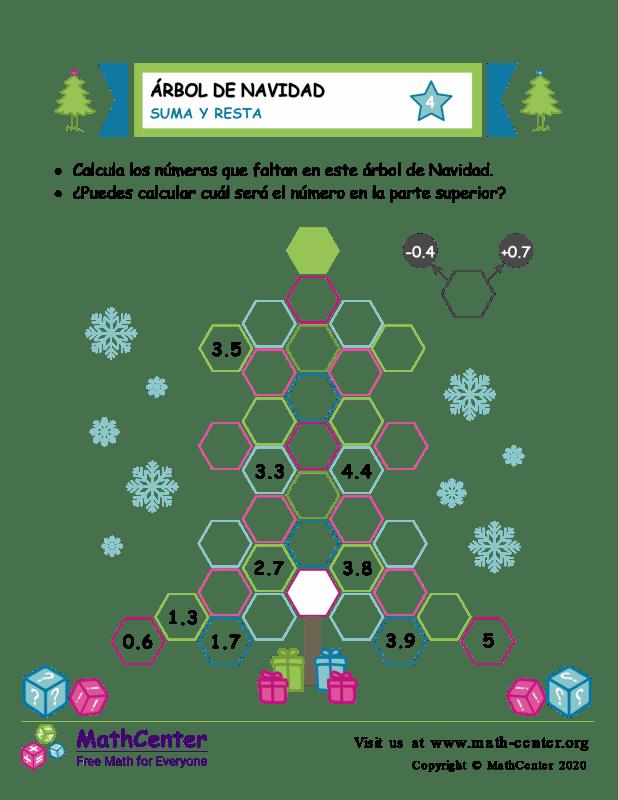 Suma y resta en árboles de Navidad - Hoja 4