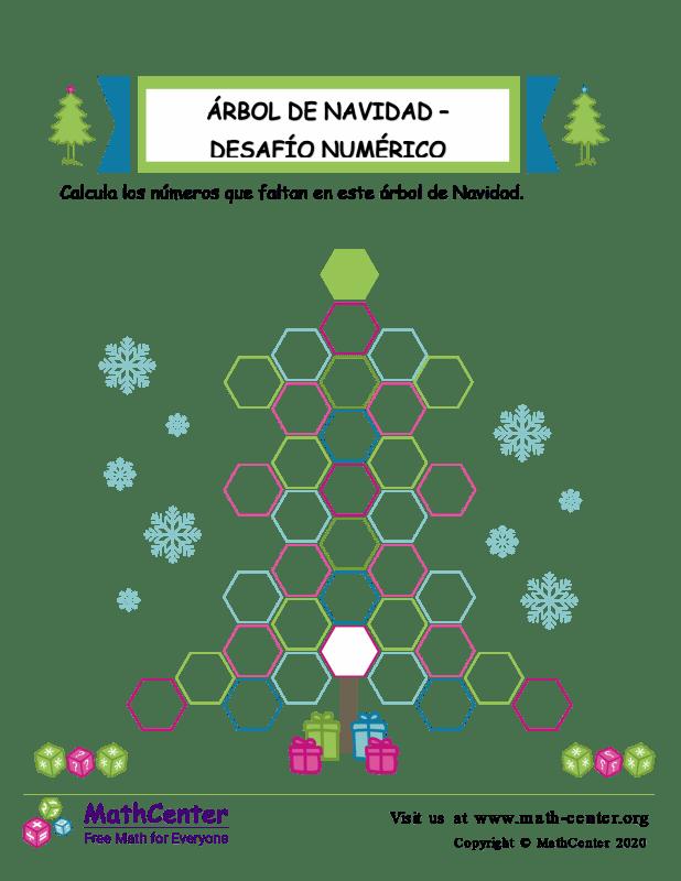 Plantilla de desafío de número de árbol de Navidad