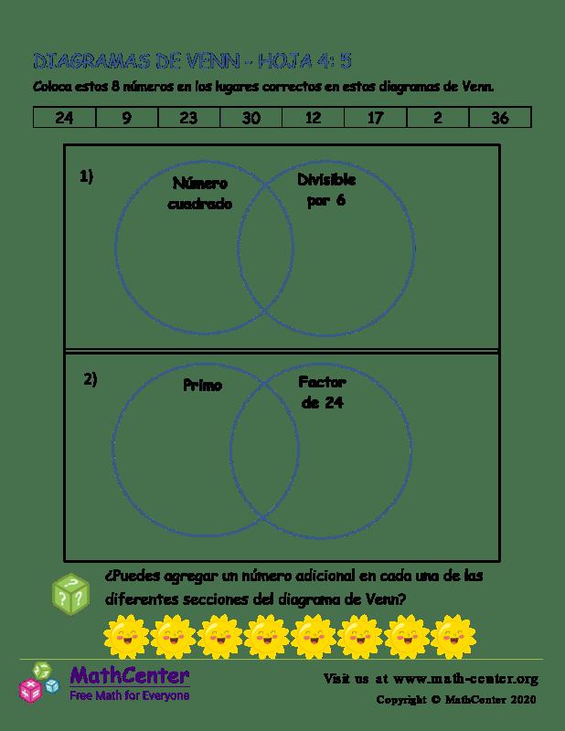 Hoja De Diagramas De Venn 4: 5