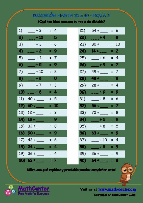 División Hasta 10 X 10 Hoja 3
