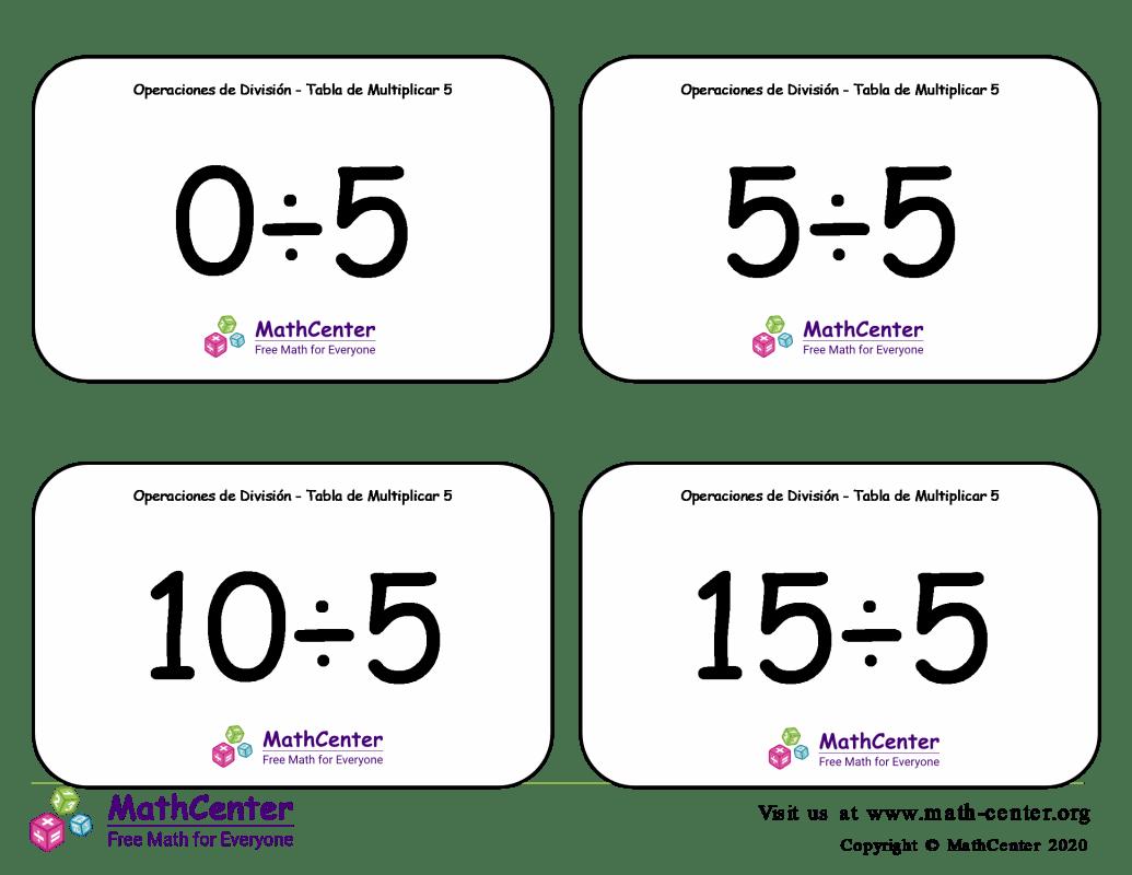 5 Tarjetas didácticas: División - tablas de multiplicar
