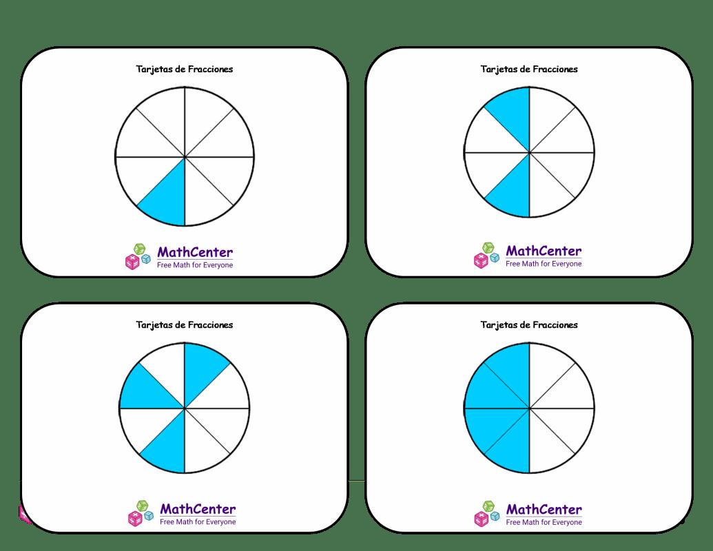 Tarjetas didácticas de fracciones con respuestas: octavos (círculos)