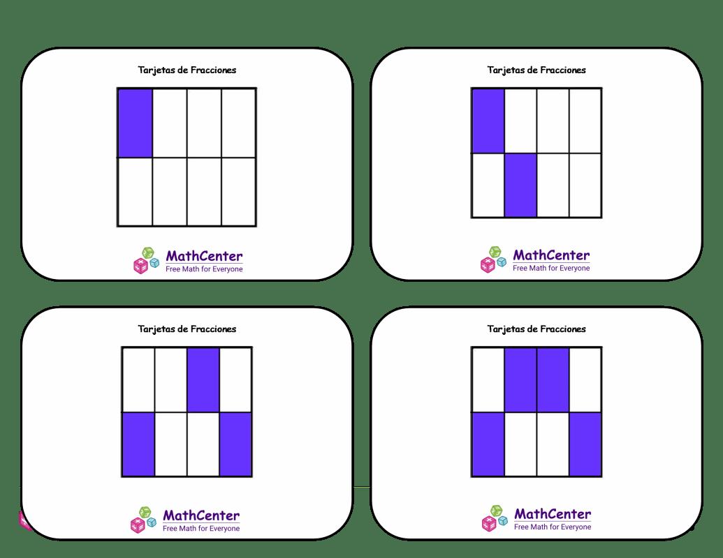 Tarjetas didácticas de fracciones con respuestas: octavos (cuadrados)