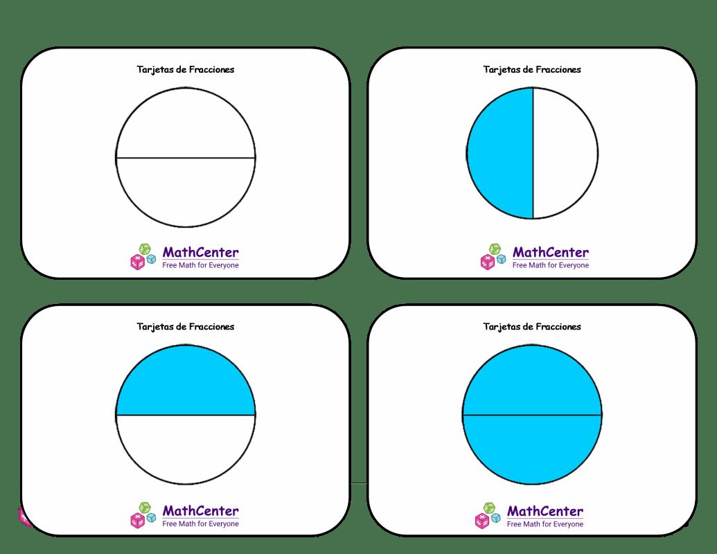 Tarjetas didácticas de fracciones con respuestas: medios cuartos (círculos)