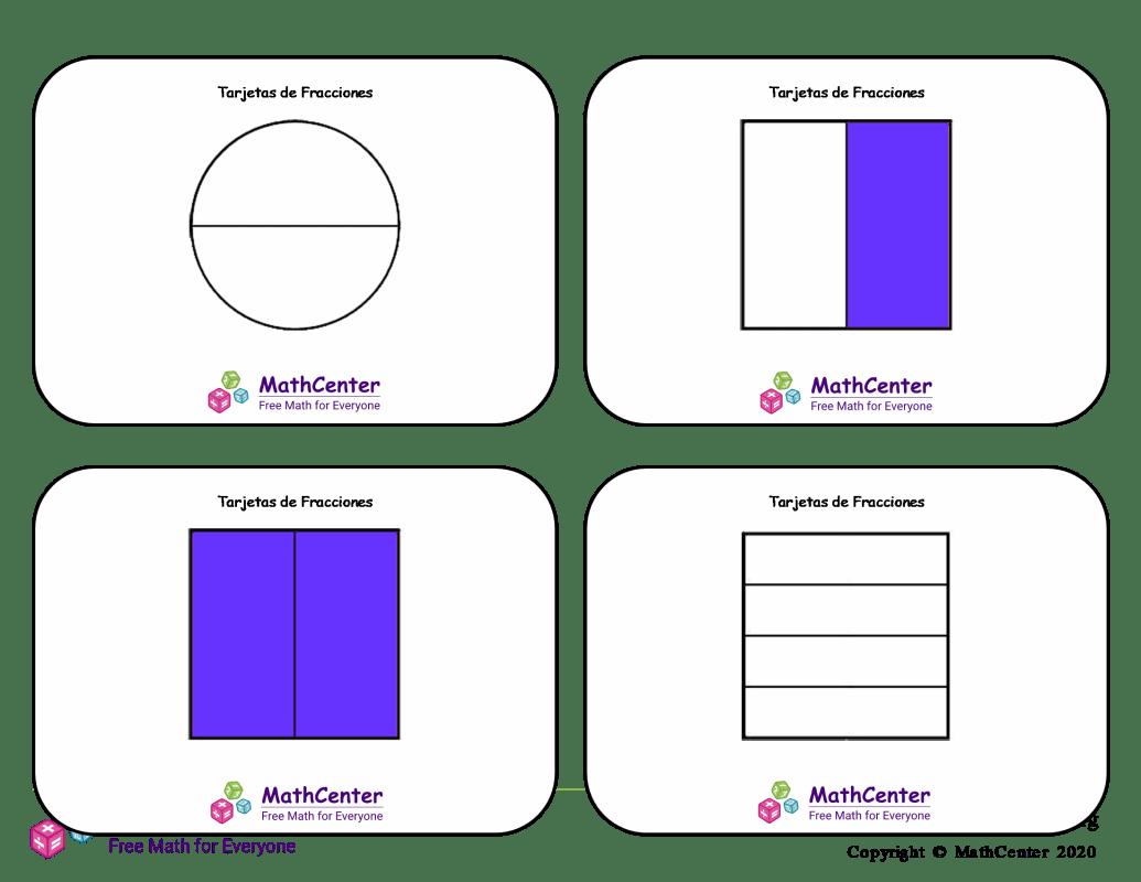 Tarjetas didácticas de fracciones con respuestas: fracciones mixtas