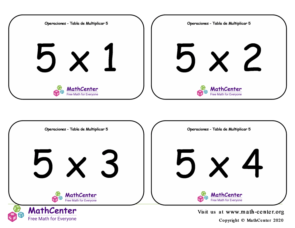 5 Tarjetas didácticas de multiplicaciones