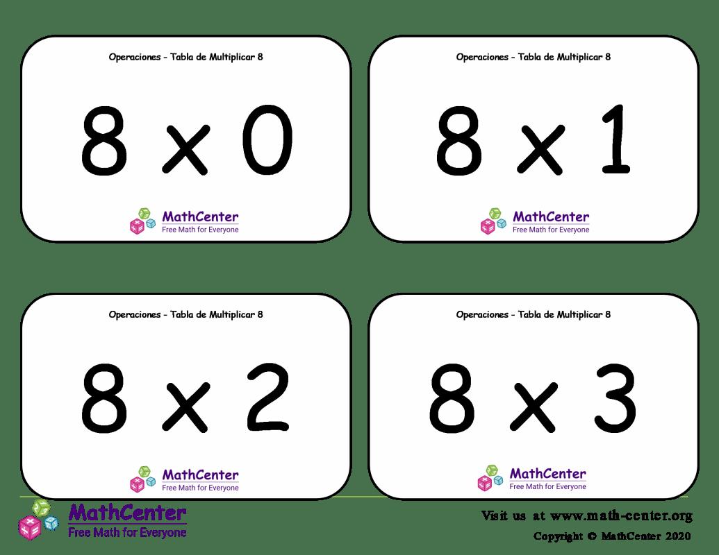 8 Tarjetas didácticas de multiplicaciones con Respuestas