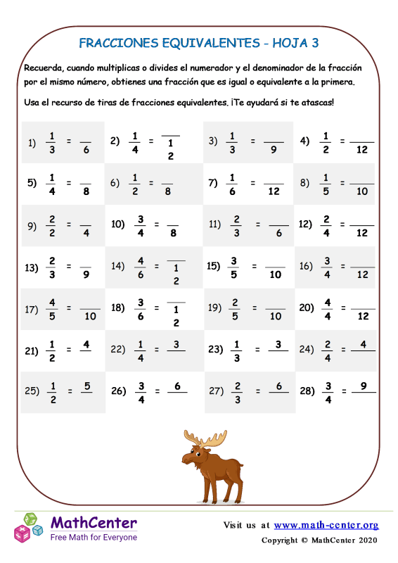 Fracciones Equivalentes Hoja 3