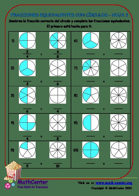Fracciones Equivalentes Con Círculos Hoja 3