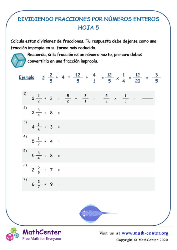 Dividiendo Fracciones Por Números Enteros Hoja 5