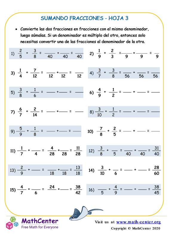 Suma de fracciones- Hoja 3 A