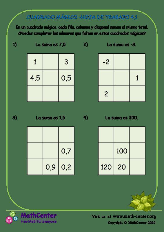 Cuadrado Mágico -Hoja De Trabajo 4.1