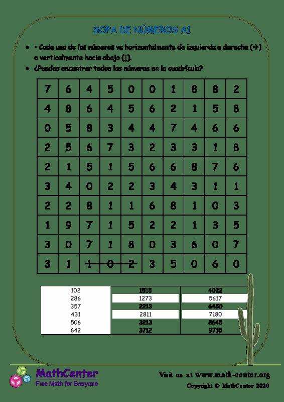 Sopa De Números A1