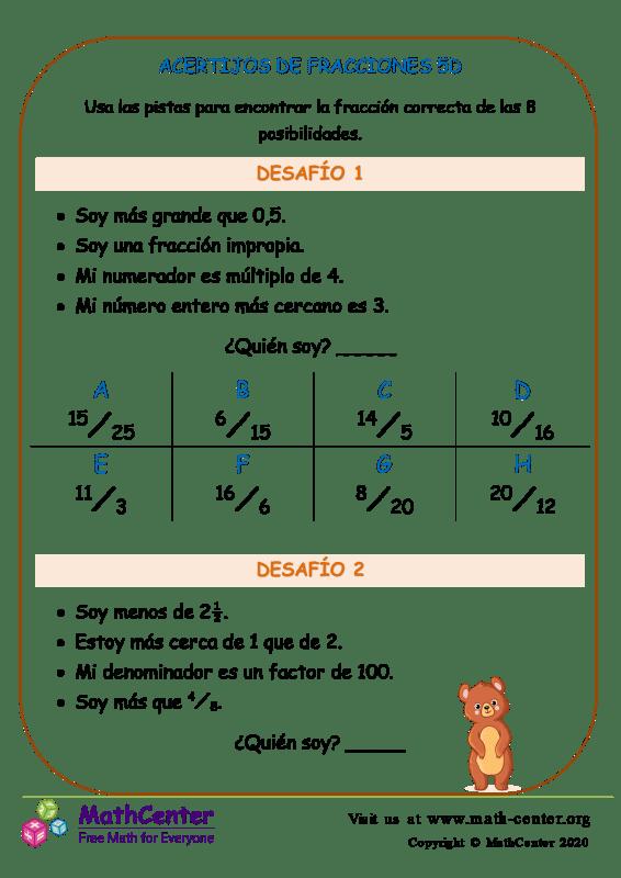 Acertijos De Fracciones 5D