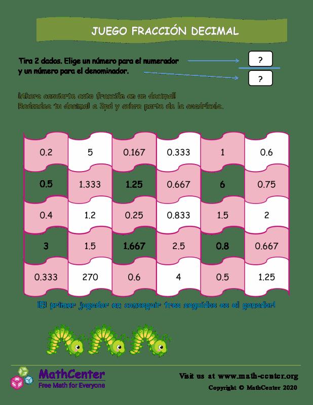 El juego de fracciones a decimales