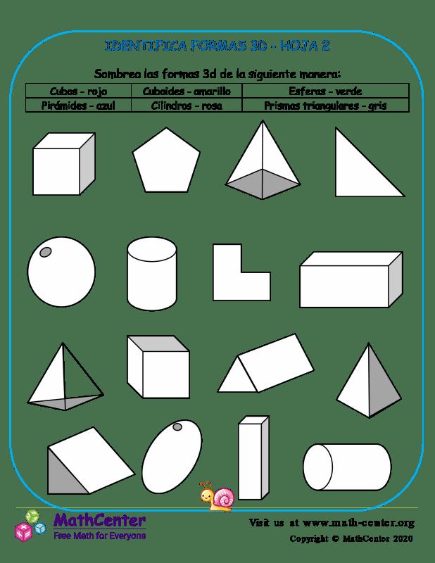 Identifica Formas 3D Hoja 2