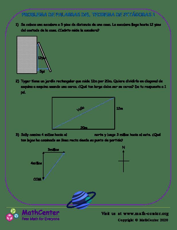 Problema De Palabras Del Teorema De Pitágoras 1