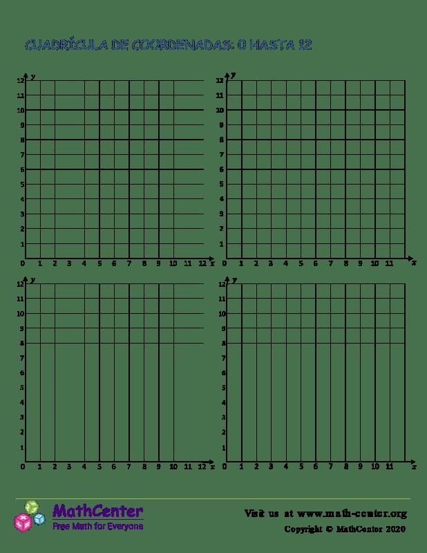 Cuadrículas de coordenadas del 0 al 12 N°2
