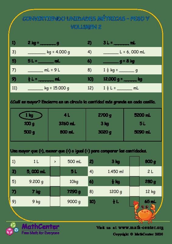 Convirtiendo Unidades Métricas – Peso Y Volumen 2