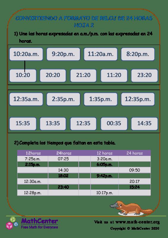Convirtiendo A Formato De Reloj De 24 Horas Hoja 2