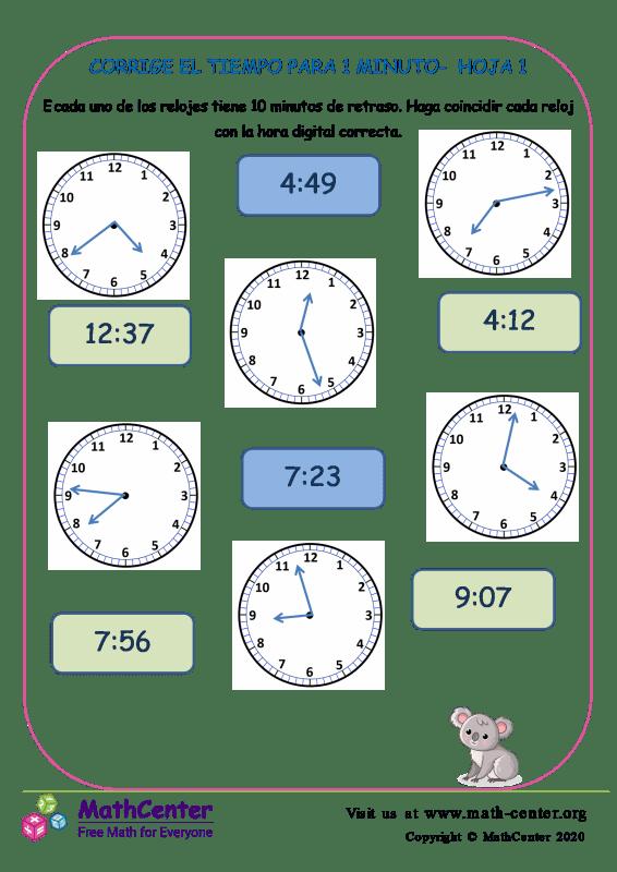Corrige El Tiempo Para 1 Minuto Hoja 1