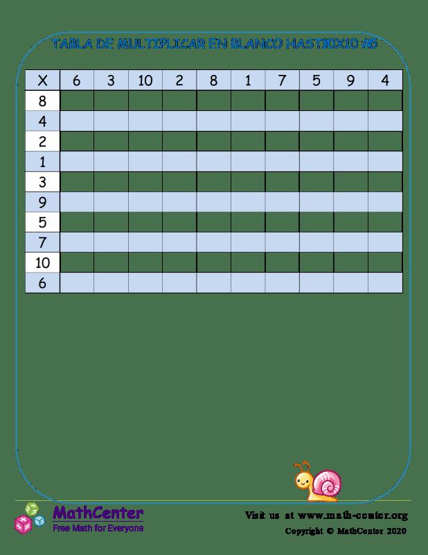 Tabla De Multiplicar En Blanco Hasta 10X10 #5