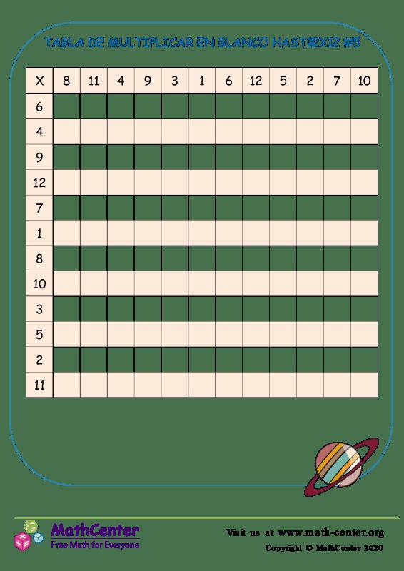 Tabla De Multiplicar En Blanco Hasta 12X12 #5