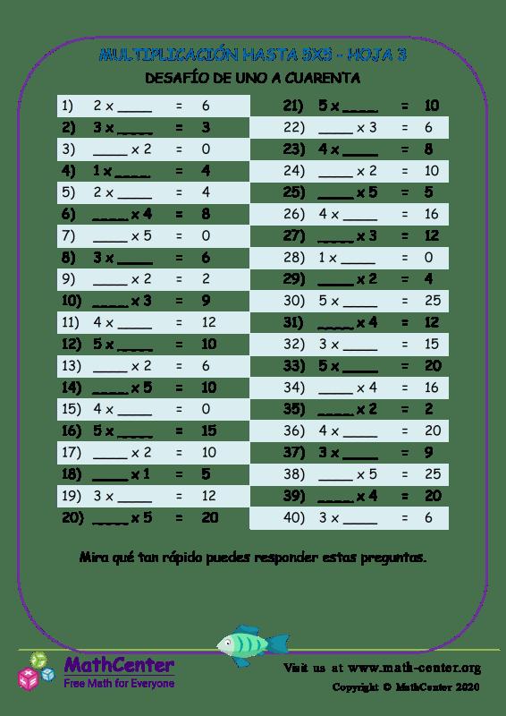Multiplicación Hasta 5X5 Hoja 3